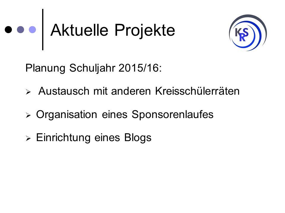Aktuelle Projekte Planung Schuljahr 2015/16:  Austausch mit anderen Kreisschülerräten  Organisation eines Sponsorenlaufes  Einrichtung eines Blogs