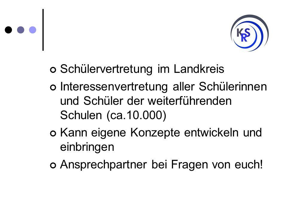 Aufbau des Kreisschülerrates HauptschulenWorpswede, Lilienthal, Ritterhude 3 RealschulenWorpswede, Lilienthal, Ritterhude 3 OberschulenOsterholz-Scharmbeck 1 GymnasienLilienthal, Ritterhude, Osterholz-Scharmbeck 3 FörderschulenLilienthal, Osterholz- Scharmbeck 3 GesamtschulenHambergen, Lilienthal, Osterholz- Scharmbeck, Schwanewede 4 Berufsbildende Schulen Lilienthal, Osterholz- Scharmbeck 3 Freie SchulenHambergen 1 gesamt 21