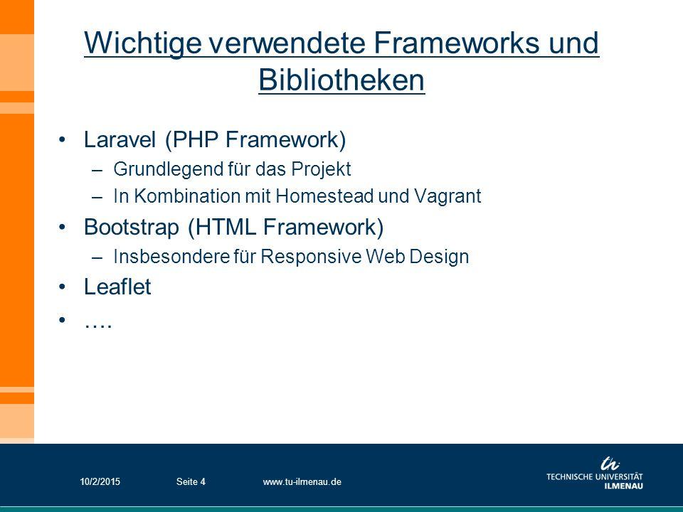 Wichtige verwendete Frameworks und Bibliotheken Laravel (PHP Framework) –Grundlegend für das Projekt –In Kombination mit Homestead und Vagrant Bootstr