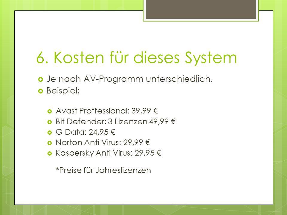 6. Kosten für dieses System  Je nach AV-Programm unterschiedlich.  Beispiel:  Avast Proffessional: 39,99 €  Bit Defender: 3 Lizenzen 49,99 €  G D