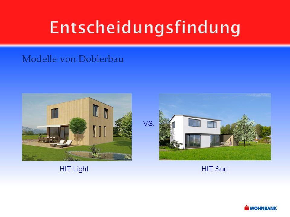 Entscheidungsfindung Modelle von Doblerbau VS. HIT LightHIT Sun