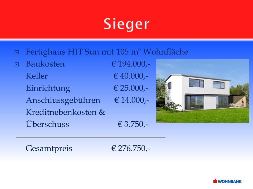 Sieger  Fertighaus HIT Sun mit 105 m² Wohnfläche  Baukosten€ 194.000,- Keller € 40.000,- Einrichtung € 25.000,- Anschlussgebühren € 14.000,- Kreditnebenkosten & Überschuss € 3.750,- Gesamtpreis€ 276.750,-