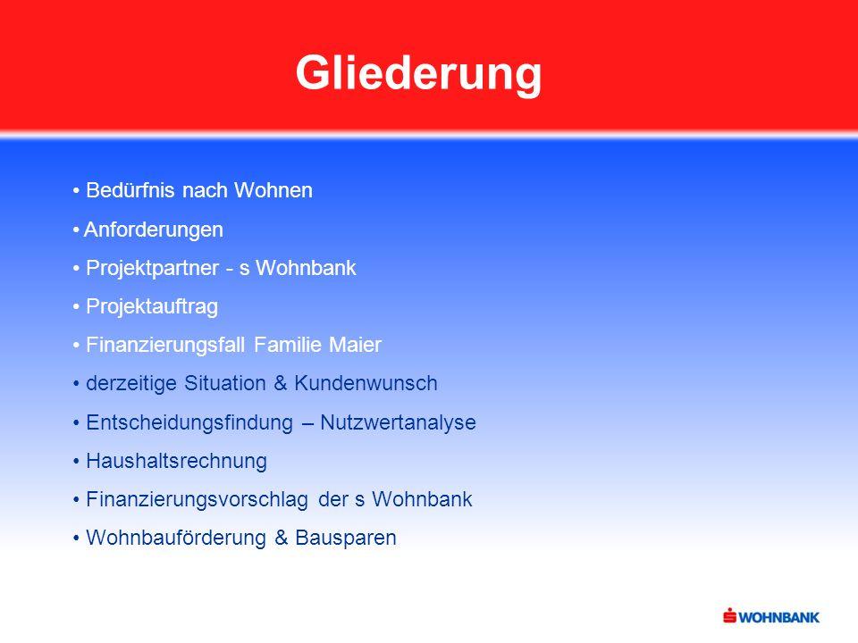 Gliederung Bedürfnis nach Wohnen Anforderungen Projektpartner - s Wohnbank Projektauftrag Finanzierungsfall Familie Maier derzeitige Situation & Kunde