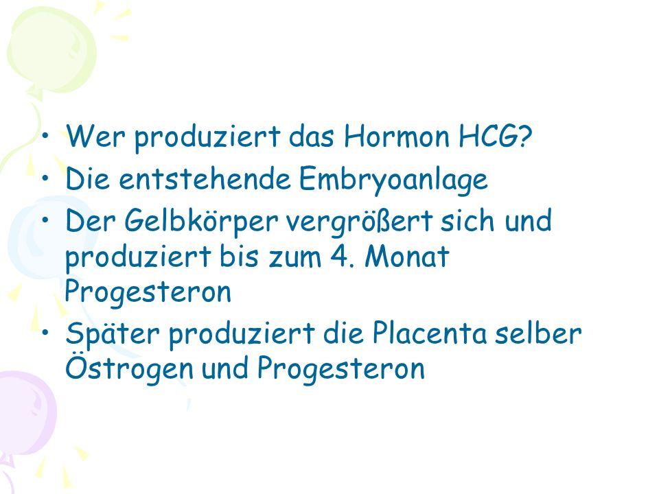 Wer produziert das Hormon HCG.