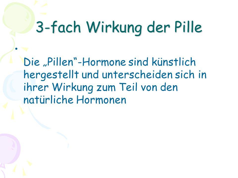 """3-fach Wirkung der Pille Die """"Pillen -Hormone sind künstlich hergestellt und unterscheiden sich in ihrer Wirkung zum Teil von den natürliche Hormonen"""