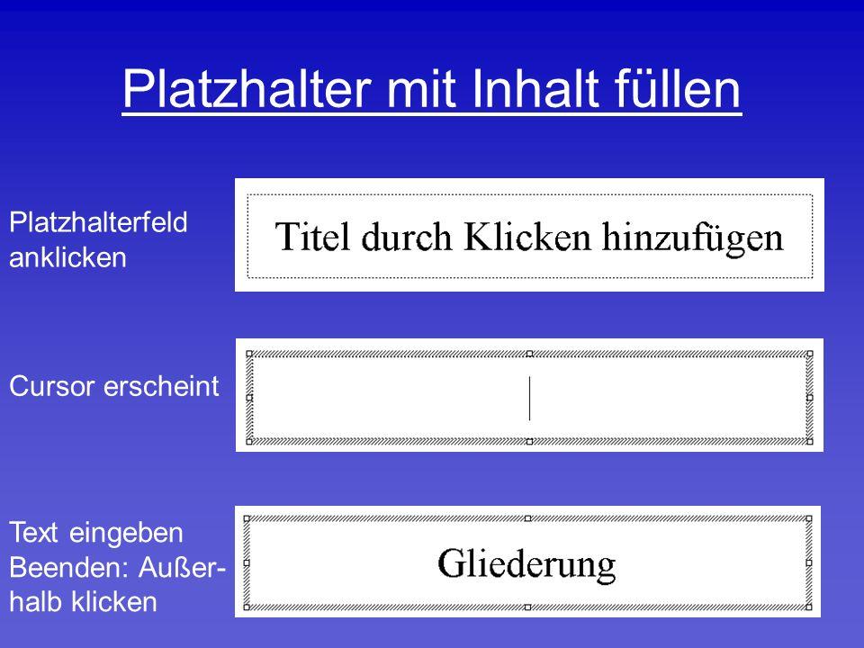 Platzhalter mit Inhalt füllen Platzhalterfeld anklicken Cursor erscheint Text eingeben Beenden: Außer- halb klicken