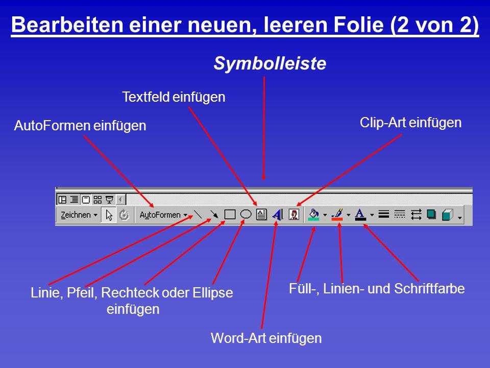 Bearbeiten einer neuen, leeren Folie (2 von 2) Textfeld einfügen Clip-Art einfügen Word-Art einfügen Linie, Pfeil, Rechteck oder Ellipse einfügen AutoFormen einfügen Symbolleiste Füll-, Linien- und Schriftfarbe