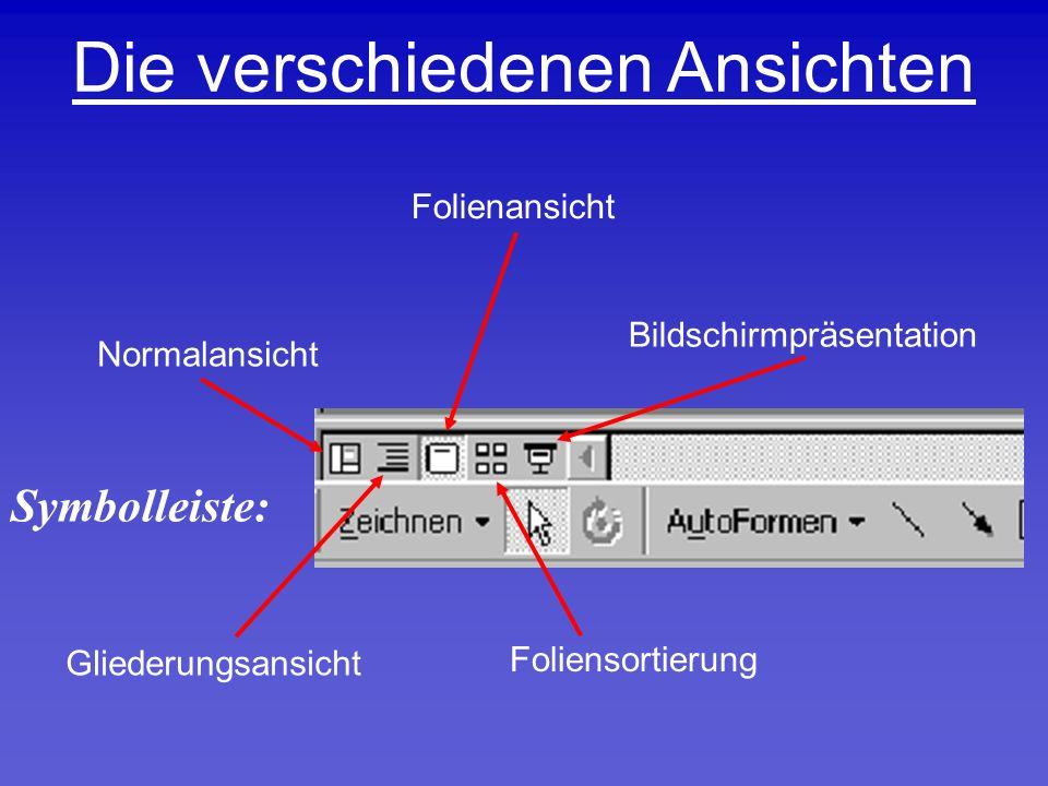 Die verschiedenen Ansichten Normalansicht Gliederungsansicht Foliensortierung Bildschirmpräsentation Folienansicht Symbolleiste: