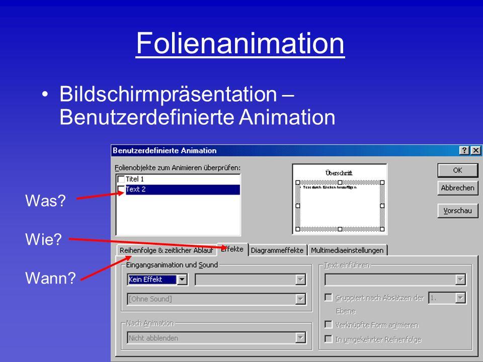 Folienanimation Bildschirmpräsentation – Benutzerdefinierte Animation Was Wie Wann