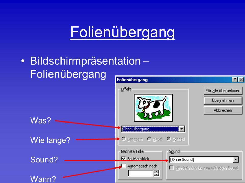 Folienübergang Bildschirmpräsentation – Folienübergang Was Wie lange Sound Wann