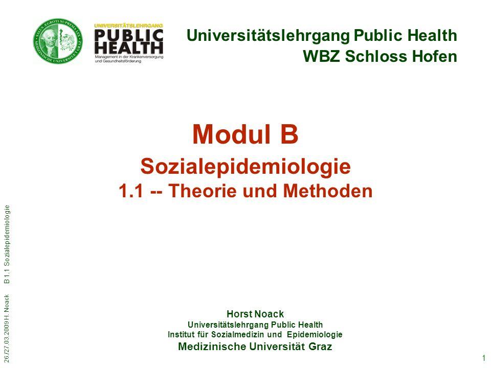 26./27.03.2009 H. Noack B 1.1 Sozialepidemiologie 1 Horst Noack Universitätslehrgang Public Health Institut für Sozialmedizin und Epidemiologie Medizi