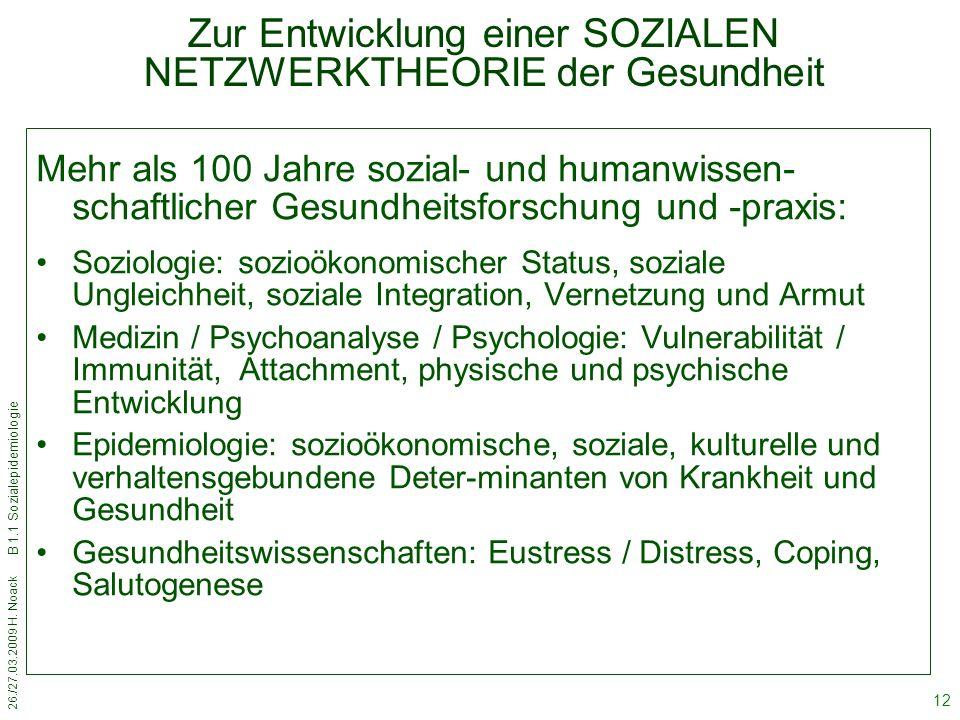 26./27.03.2009 H. Noack B 1.1 Sozialepidemiologie 12 Zur Entwicklung einer SOZIALEN NETZWERKTHEORIE der Gesundheit Mehr als 100 Jahre sozial- und huma