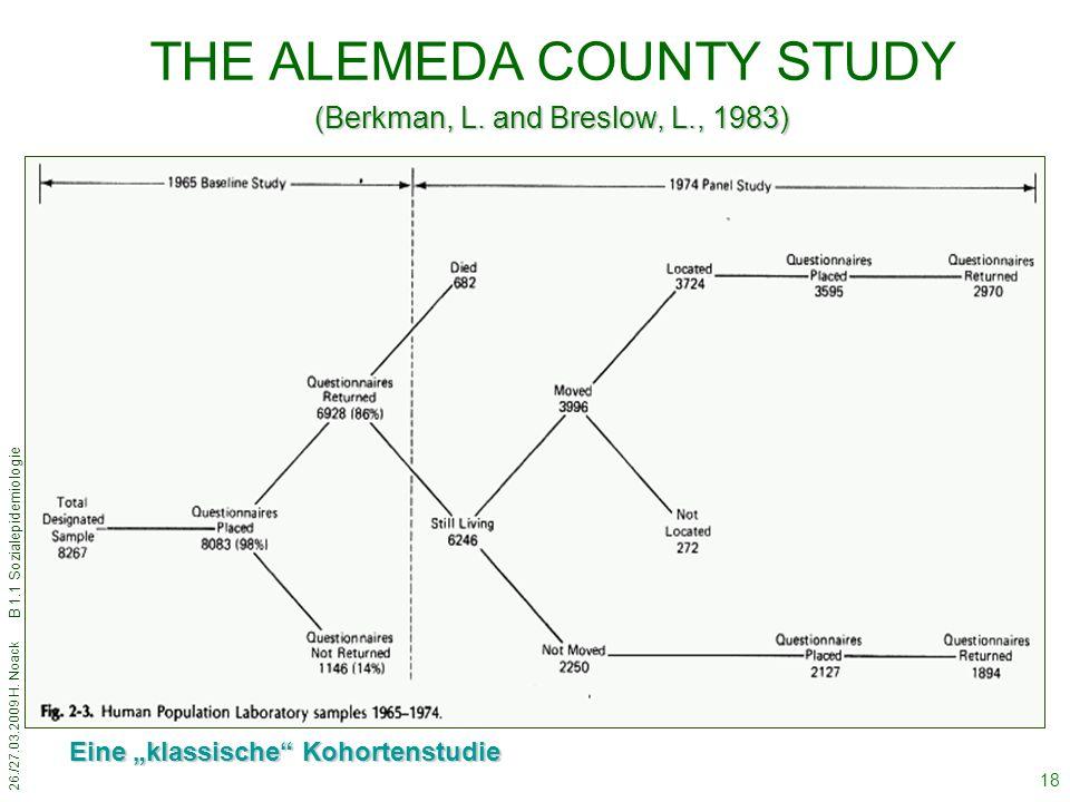 "26./27.03.2009 H. Noack B 1.1 Sozialepidemiologie 18 THE ALEMEDA COUNTY STUDY (Berkman, L. and Breslow, L., 1983) Eine ""klassische"" Kohortenstudie"