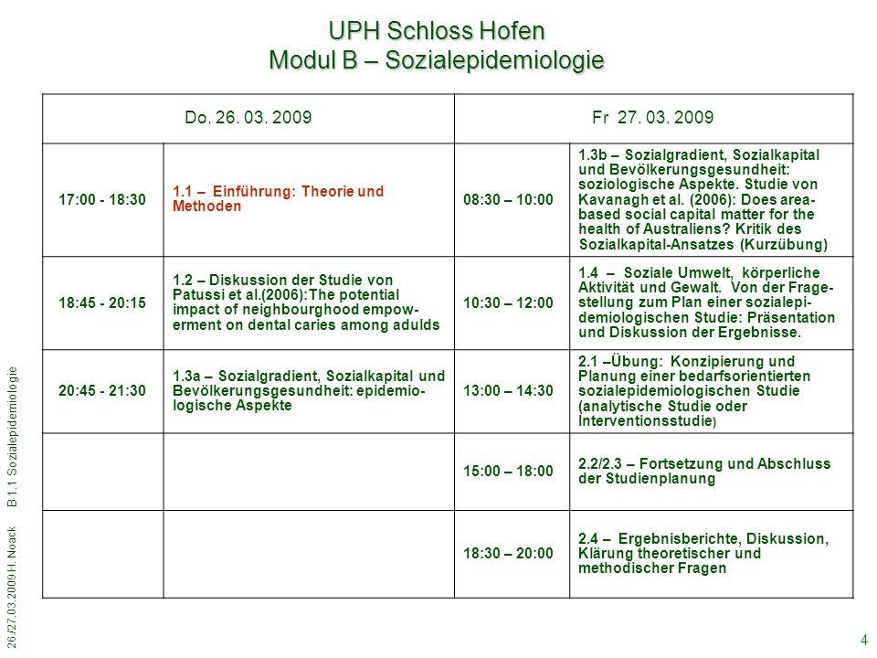 26./27.03.2009 H. Noack B 1.1 Sozialepidemiologie 4 Do. 26. 03. 2009Fr 27. 03. 2009 17:00 - 18:30 1.1 – Einführung: Theorie und Methoden 08:30 – 10:00