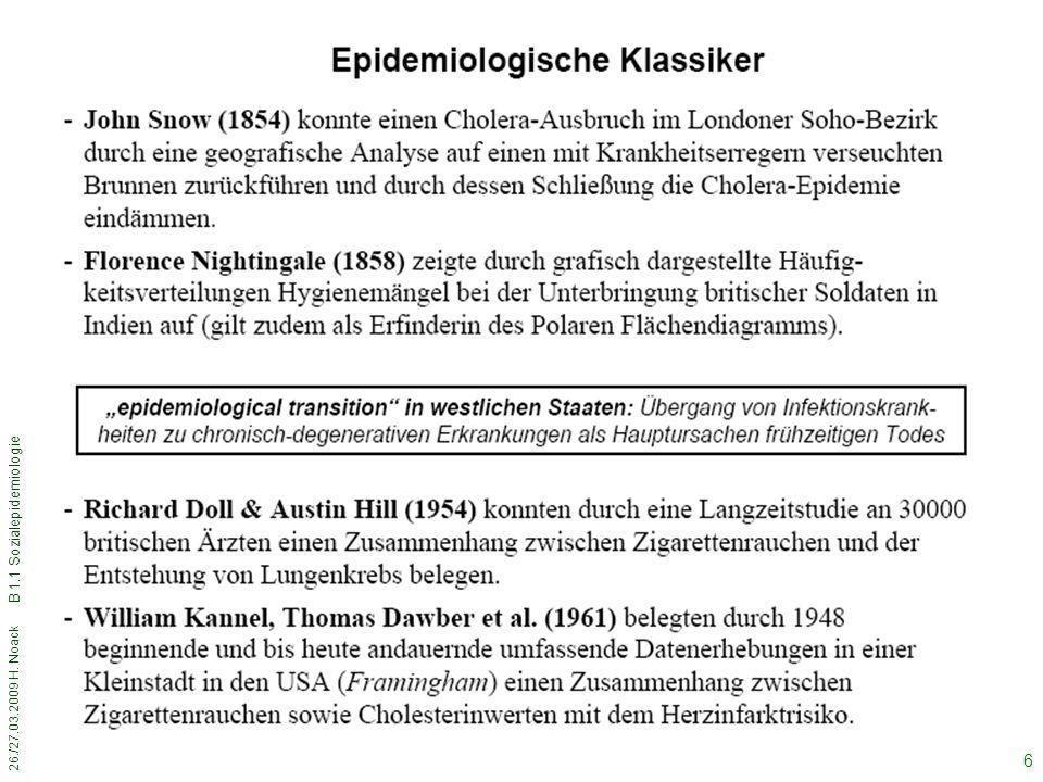 26./27.03.2009 H. Noack B 1.1 Sozialepidemiologie 6