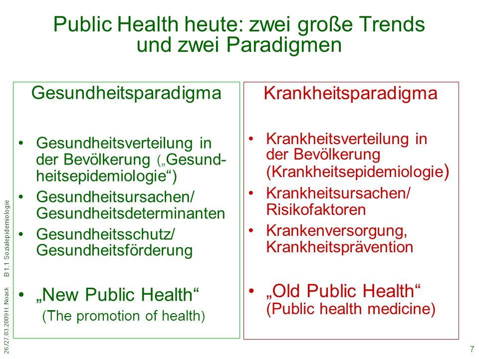 26./27.03.2009 H. Noack B 1.1 Sozialepidemiologie 7 Public Health heute: zwei große Trends und zwei Paradigmen Krankheitsparadigma Krankheitsverteilun