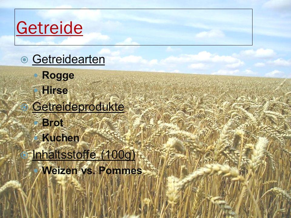 Getreide  Getreidearten Rogge Hirse  Getreideprodukte Brot Kuchen  Inhaltsstoffe (100g) Weizen vs. Pommes