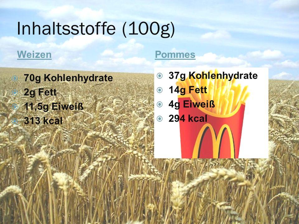 Inhaltsstoffe (100g) WeizenPommes  70g Kohlenhydrate  2g Fett  11,5g Eiweiß  313 kcal  37g Kohlenhydrate  14g Fett  4g Eiweiß  294 kcal