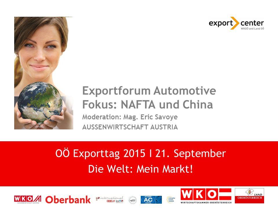 High-Tech zwischen Tradition und Moderne Exportforum Automotive Fokus: NAFTA und China Moderation: Mag.