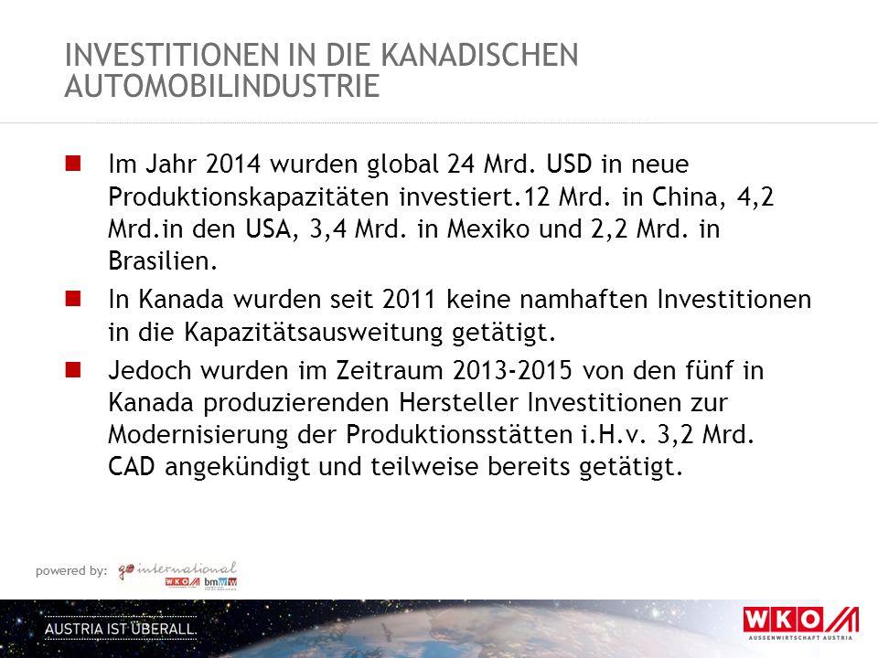 powered by: INVESTITIONEN IN DIE KANADISCHEN AUTOMOBILINDUSTRIE Im Jahr 2014 wurden global 24 Mrd.