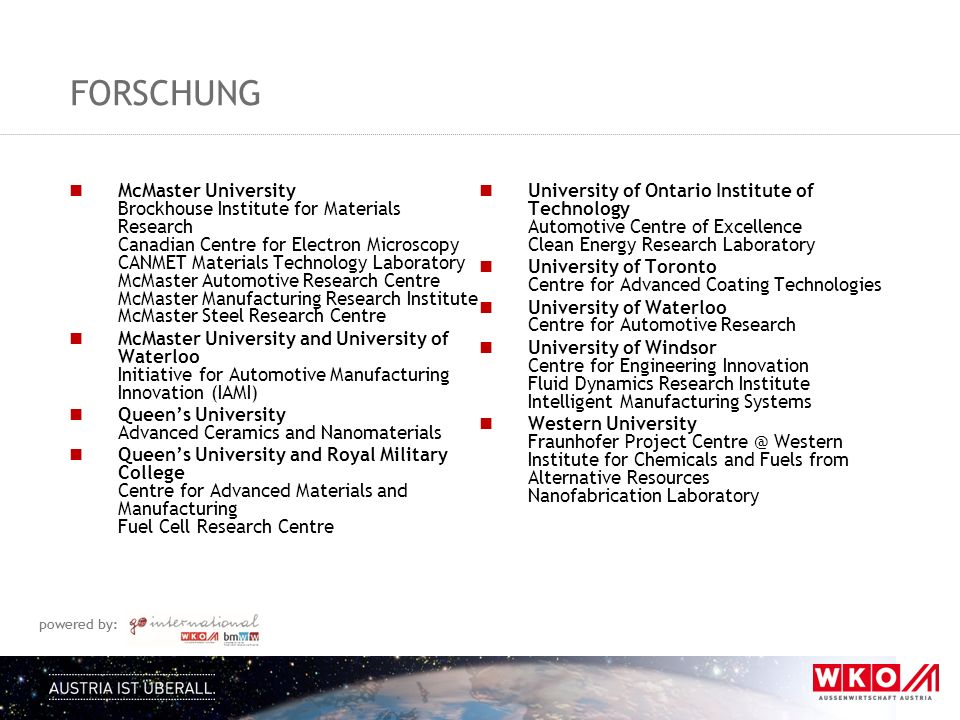 powered by: FORSCHUNG McMaster University Brockhouse Institute for Materials Research Canadian Centre for Electron Microscopy CANMET Materials Technol