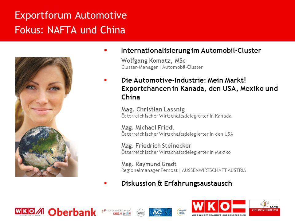  Internationalisierung im Automobil-Cluster Wolfgang Komatz, MSc Cluster-Manager | Automobil-Cluster  Die Automotive-Industrie: Mein Markt.