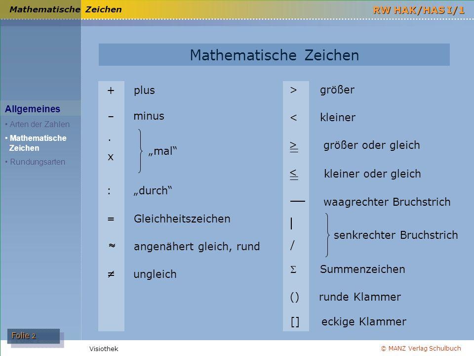 © MANZ Verlag Schulbuch Folie 3 RW HAK/HAS I/1 Visiothek Rundungsarten es wird generell AUF- gerundet es wird generell AUF- gerundet 4,961 auf 2 Dez.