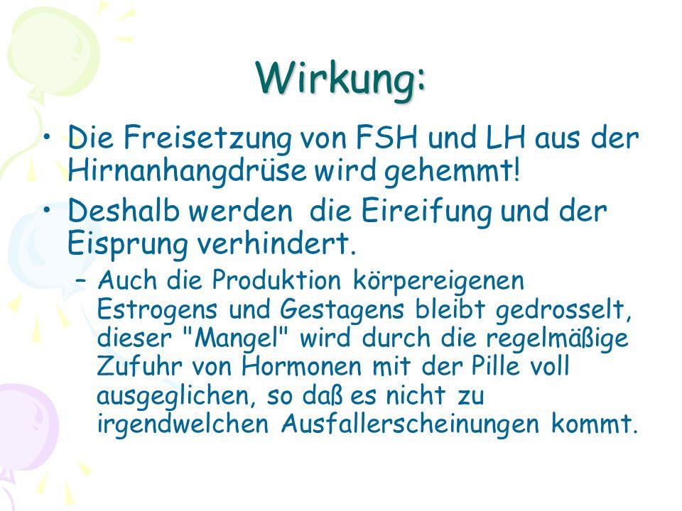 Wirkung: Die Freisetzung von FSH und LH aus der Hirnanhangdrüse wird gehemmt! Deshalb werden die Eireifung und der Eisprung verhindert. –Auch die Prod