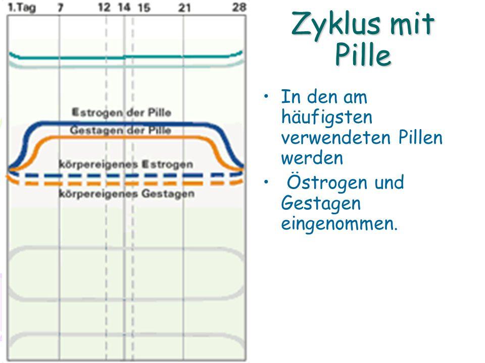 Zyklus mit Pille In den am häufigsten verwendeten Pillen werden Östrogen und Gestagen eingenommen.