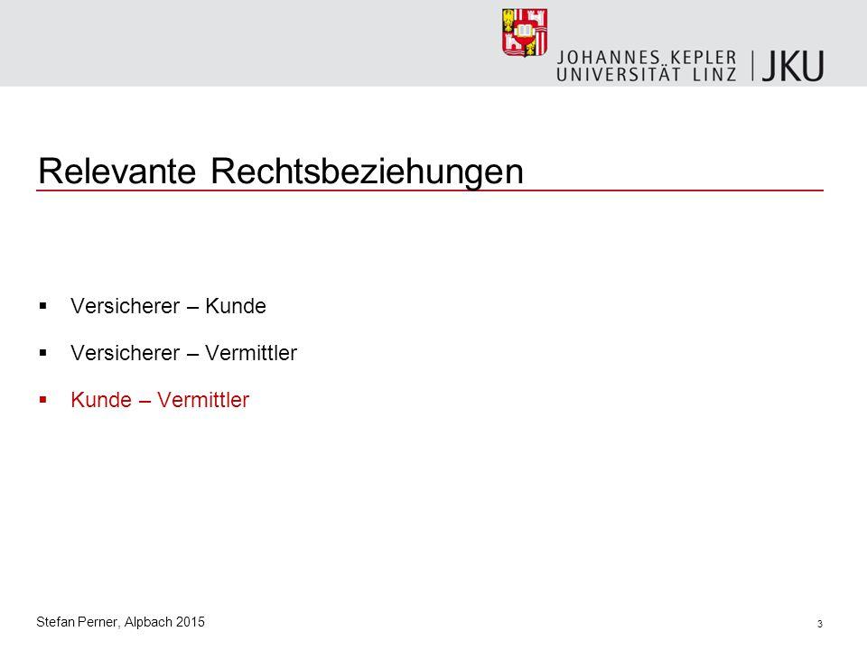 3 Stefan Perner, Alpbach 2015 Relevante Rechtsbeziehungen  Versicherer – Kunde  Versicherer – Vermittler  Kunde – Vermittler