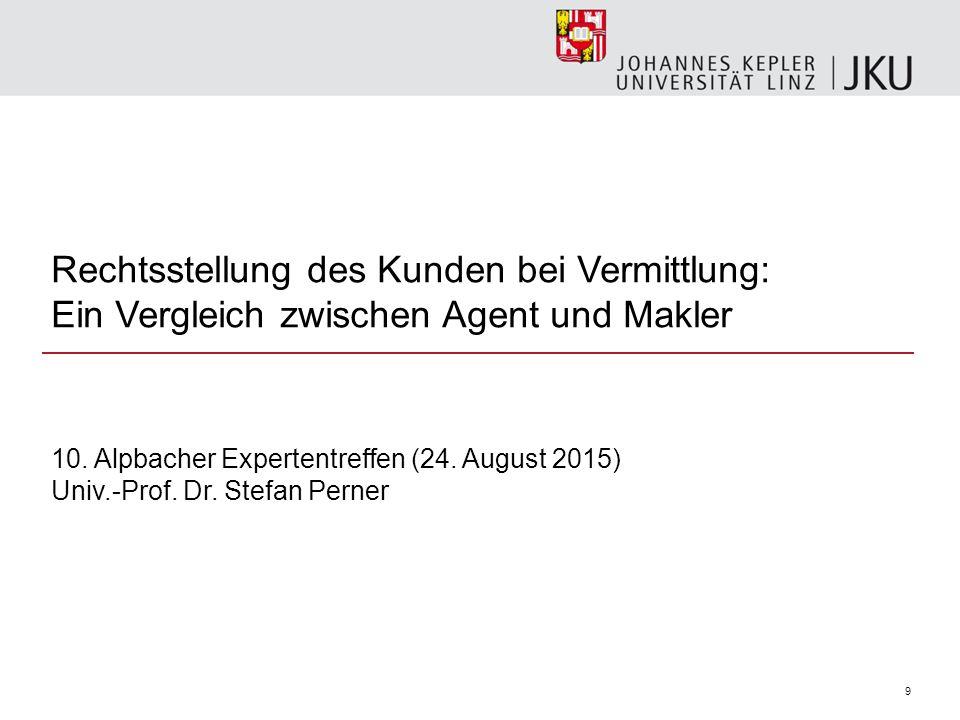 Rechtsstellung des Kunden bei Vermittlung: Ein Vergleich zwischen Agent und Makler 9 10.