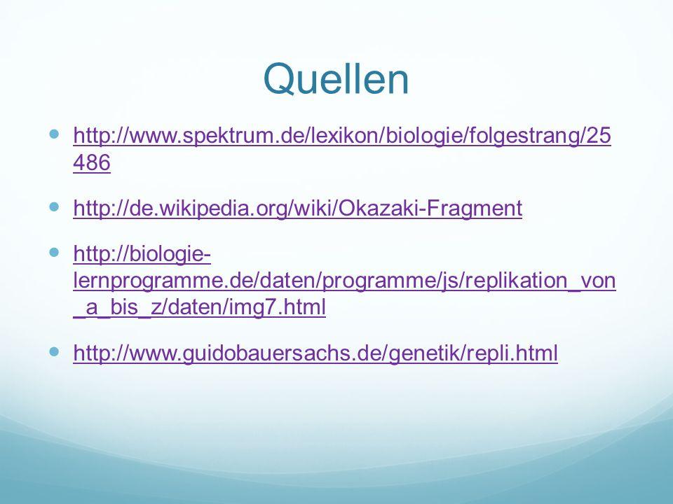 Quellen http://www.spektrum.de/lexikon/biologie/folgestrang/25 486 http://www.spektrum.de/lexikon/biologie/folgestrang/25 486 http://de.wikipedia.org/wiki/Okazaki-Fragment http://biologie- lernprogramme.de/daten/programme/js/replikation_von _a_bis_z/daten/img7.html http://biologie- lernprogramme.de/daten/programme/js/replikation_von _a_bis_z/daten/img7.html http://www.guidobauersachs.de/genetik/repli.html