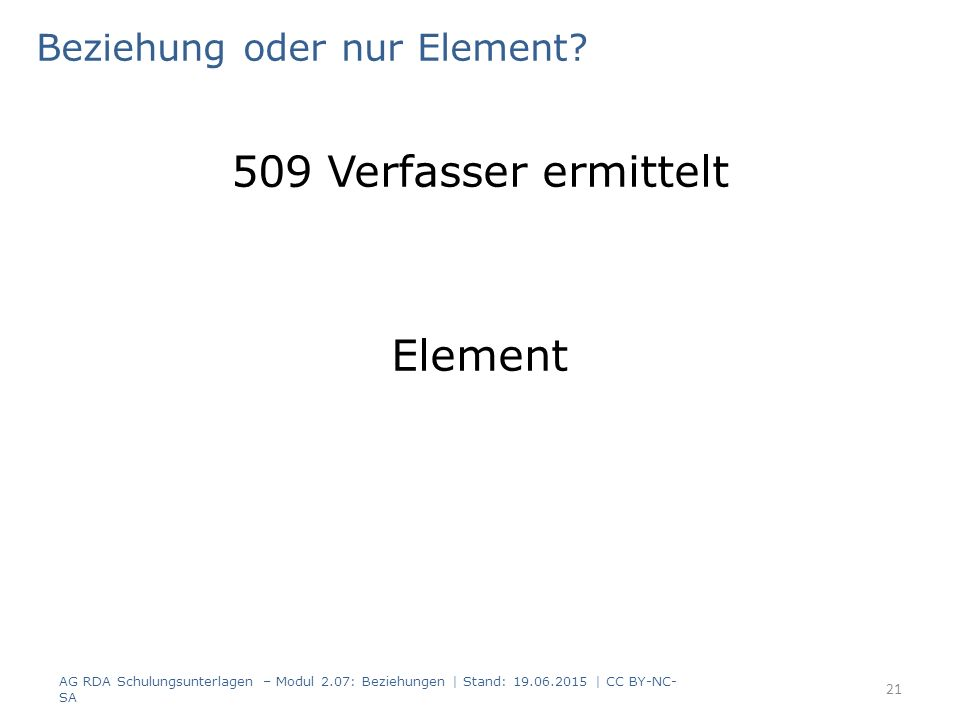 Beziehung oder nur Element? 509 Verfasser ermittelt Element AG RDA Schulungsunterlagen – Modul 2.07: Beziehungen | Stand: 19.06.2015 | CC BY-NC- SA 21