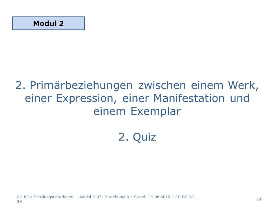 2. Primärbeziehungen zwischen einem Werk, einer Expression, einer Manifestation und einem Exemplar 2. Quiz Modul 2 AG RDA Schulungsunterlagen – Modul