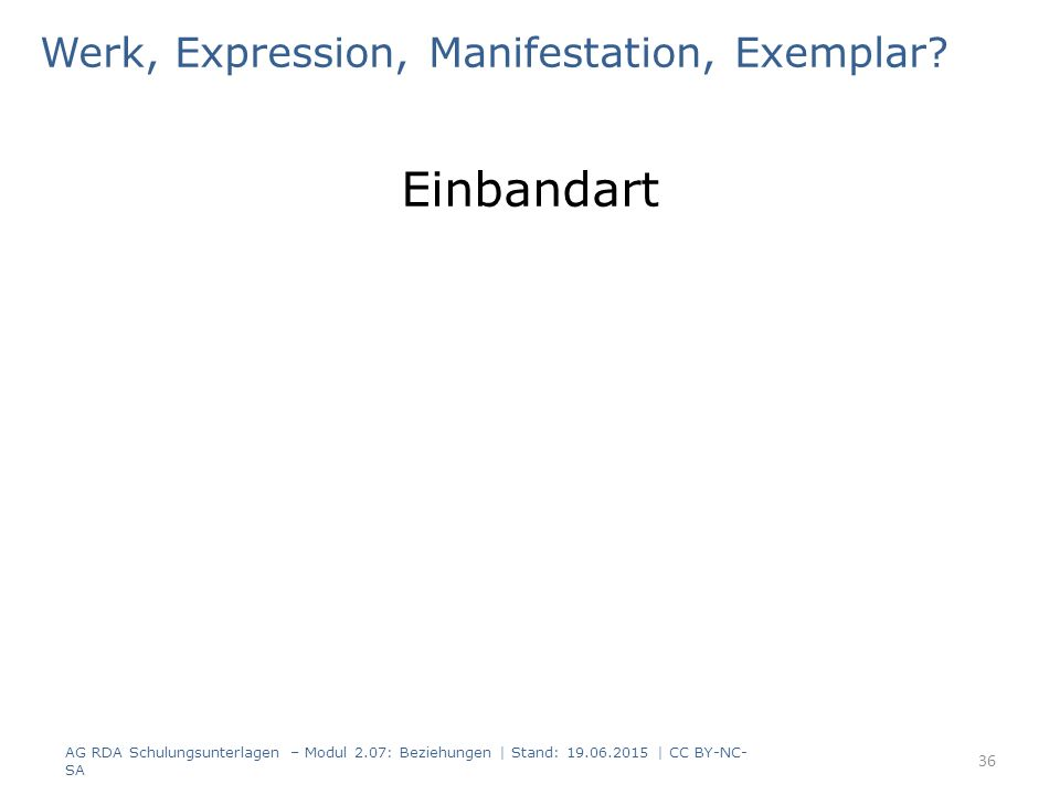 Werk, Expression, Manifestation, Exemplar? Einbandart AG RDA Schulungsunterlagen – Modul 2.07: Beziehungen | Stand: 19.06.2015 | CC BY-NC- SA 36