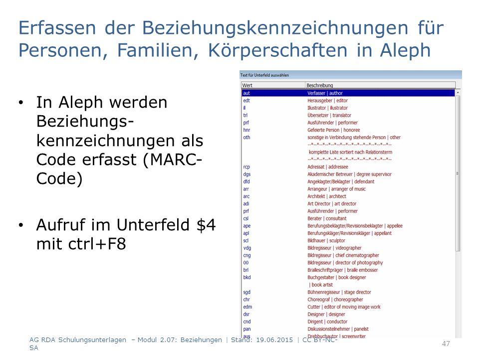 Erfassen der Beziehungskennzeichnungen für Personen, Familien, Körperschaften in Aleph In Aleph werden Beziehungs- kennzeichnungen als Code erfasst (MARC- Code) Aufruf im Unterfeld $4 mit ctrl+F8 AG RDA Schulungsunterlagen – Modul 2.07: Beziehungen | Stand: 19.06.2015 | CC BY-NC- SA 47