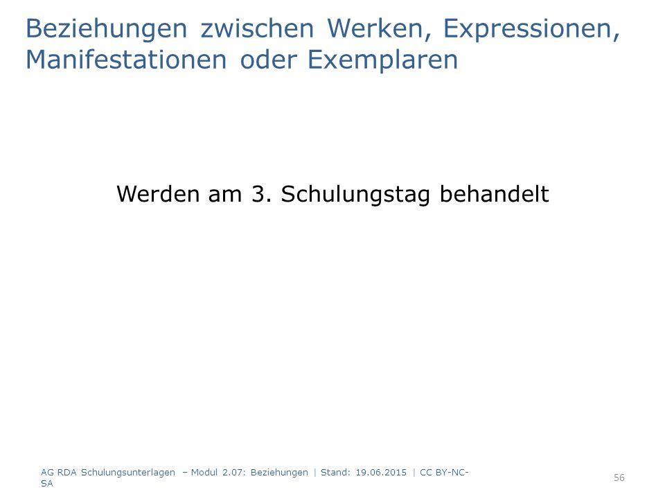 Beziehungen zwischen Werken, Expressionen, Manifestationen oder Exemplaren Werden am 3.