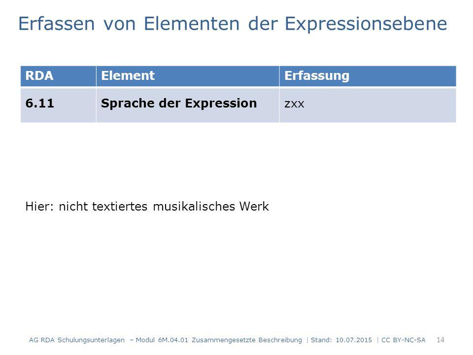 14 RDAElementErfassung 6.11Sprache der Expressionzxx Erfassen von Elementen der Expressionsebene Hier: nicht textiertes musikalisches Werk AG RDA Schu