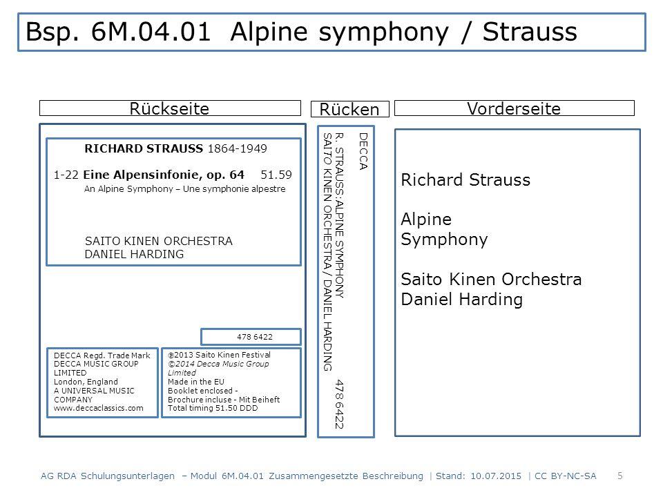 RückseiteVorderseite Richard Strauss Alpine Symphony Saito Kinen Orchestra Daniel Harding DECCA Regd. Trade Mark DECCA MUSIC GROUP LIMITED London, Eng