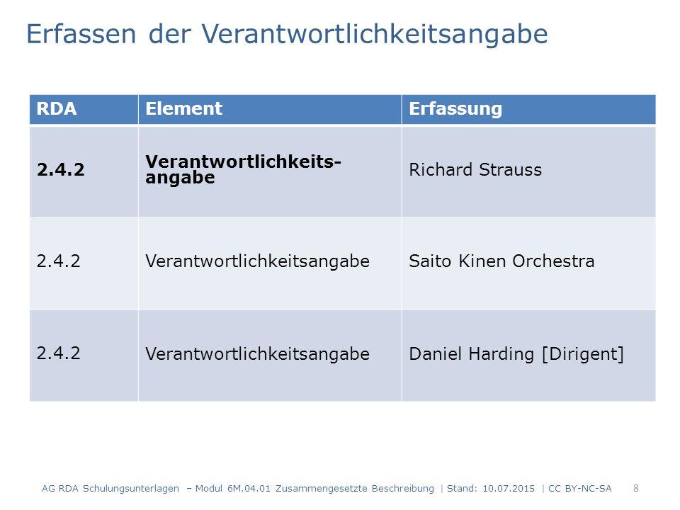 8 RDAElementErfassung 2.4.2 Verantwortlichkeits- angabe Richard Strauss 2.4.2VerantwortlichkeitsangabeSaito Kinen Orchestra 2.4.2 Verantwortlichkeitsa
