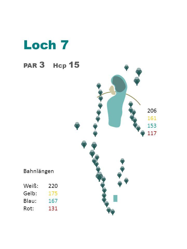 Loch 7 PAR 3 Hcp 15 Bahnlängen Weiß: 220 Gelb:175 Blau: 167 Rot:131 206 161 153 117