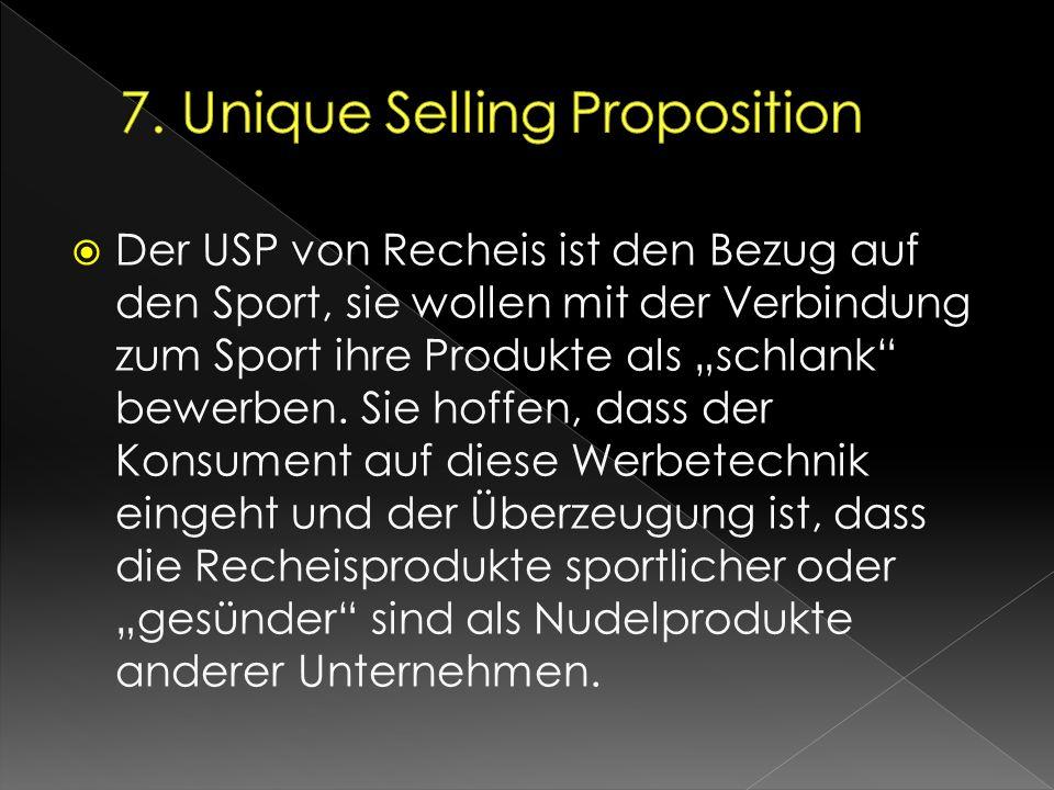 """ Der USP von Recheis ist den Bezug auf den Sport, sie wollen mit der Verbindung zum Sport ihre Produkte als """"schlank"""" bewerben. Sie hoffen, dass der"""