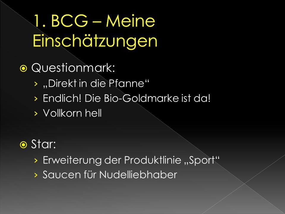 """ Questionmark: › """"Direkt in die Pfanne"""" › Endlich! Die Bio-Goldmarke ist da! › Vollkorn hell  Star: › Erweiterung der Produktlinie """"Sport"""" › Saucen"""