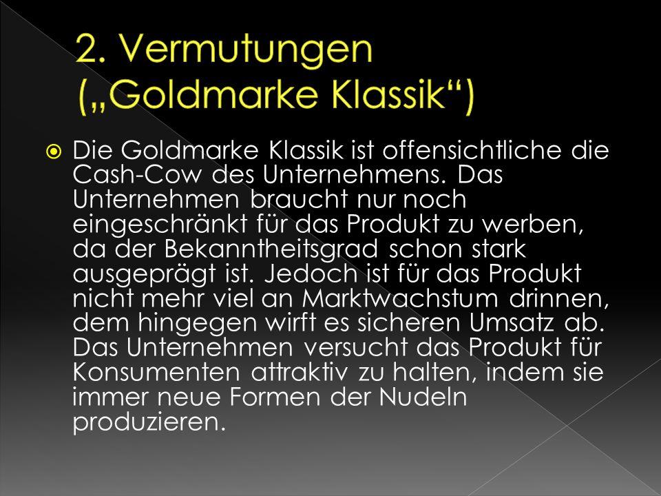  Die Goldmarke Klassik ist offensichtliche die Cash-Cow des Unternehmens. Das Unternehmen braucht nur noch eingeschränkt für das Produkt zu werben, d