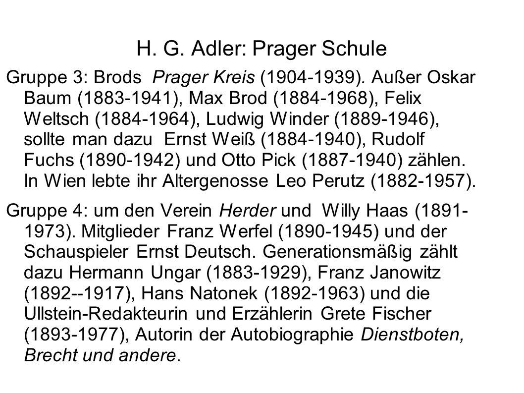 H. G. Adler: Prager Schule Gruppe 3: Brods Prager Kreis (1904-1939). Außer Oskar Baum (1883-1941), Max Brod (1884-1968), Felix Weltsch (1884-1964), Lu