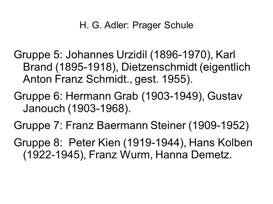 H. G. Adler: Prager Schule Gruppe 5: Johannes Urzidil (1896-1970), Karl Brand (1895-1918), Dietzenschmidt (eigentlich Anton Franz Schmidt., gest. 1955