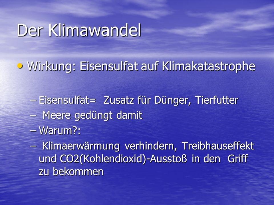 Der Klimawandel Wirkung: Eisensulfat auf Klimakatastrophe Wirkung: Eisensulfat auf Klimakatastrophe –Eisensulfat= Zusatz für Dünger, Tierfutter – Meer