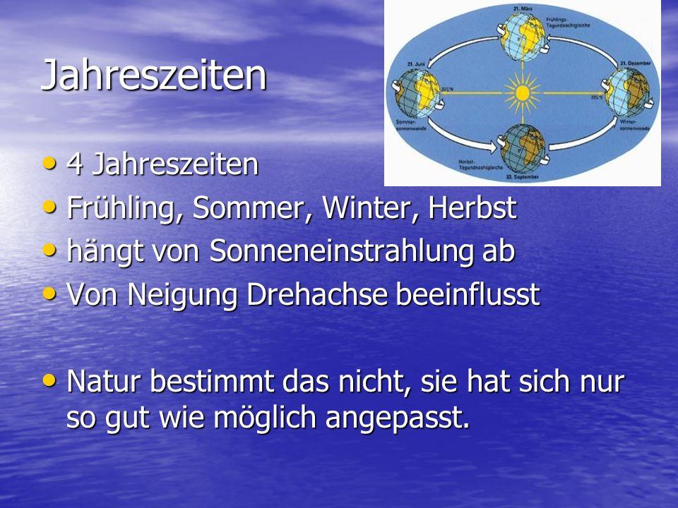 Jahreszeiten 4 Jahreszeiten 4 Jahreszeiten Frühling, Sommer, Winter, Herbst Frühling, Sommer, Winter, Herbst hängt von Sonneneinstrahlung ab hängt von