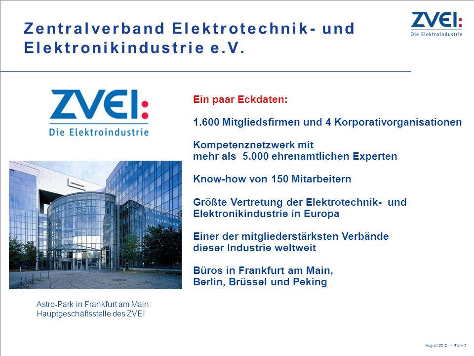 August 2012 – Folie 2 Ein paar Eckdaten: 1.600 Mitgliedsfirmen und 4 Korporativorganisationen Kompetenznetzwerk mit mehr als 5.000 ehrenamtlichen Expe
