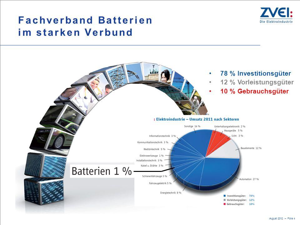 August 2012 – Folie 4 Fachverband Batterien im starken Verbund 78 % Investitionsgüter 12 % Vorleistungsgüter 10 % Gebrauchsgüter